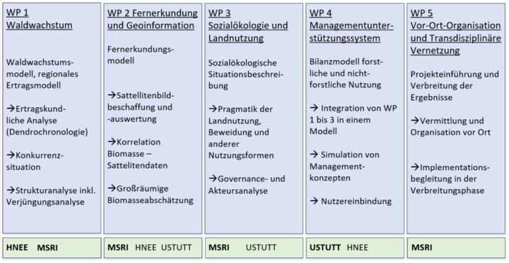 Abbildung 2: Work Packages mit den jeweiligen leitenden Projektpartnern (fettgedruckt) (c)