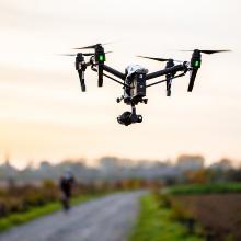 Drone flying over landscape